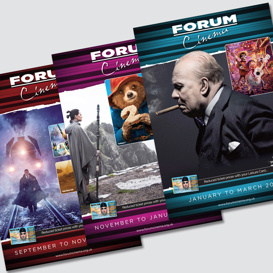 Northampton Leisure Trust Lings Forum Cinema brochures designed by Birdhouse Design Limited