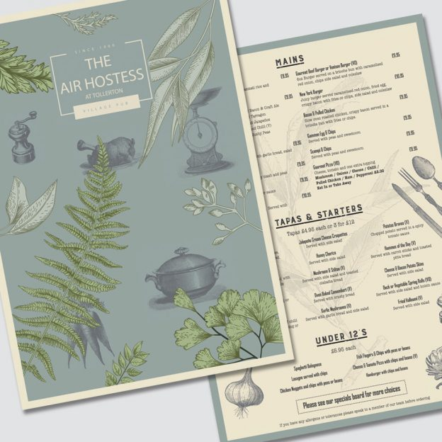 Everards Brewery Pub Menus designed by Birdhouse Design Limited