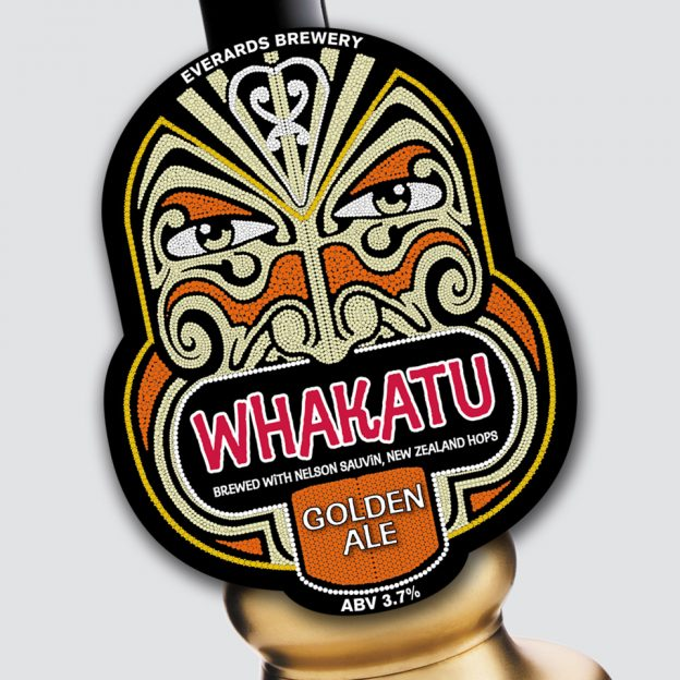 Whakatu pump clip designed for Evererds Brewery by Birdhouse Design Limited