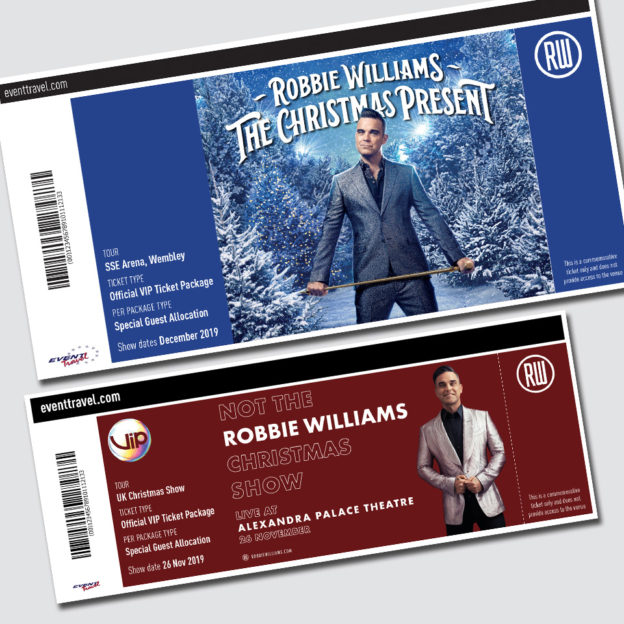 Robbie Williams Event Tickets by Birdhouse Design Limited
